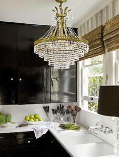 chandelier over sink...perfect