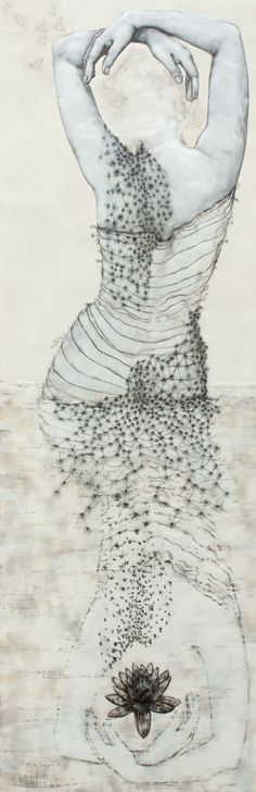 """ Wader with Lotus""   ecaustic on wood panel   with paper and drawing  ::  by Andrea Benson"