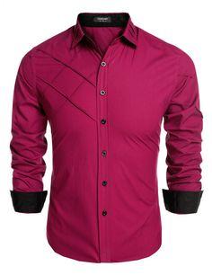 YesFashion Men's Fashion Slim Fit Dress Shirt Long Sleeve Casual Shirts - Yesfashion.com in Free Shipping