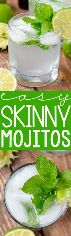 These Easy Skinny Mojitos could not be simpler, but is so delicious!  At just about 80 calories a glass and FOUR ingredients, it is going to be your go to summer drink!