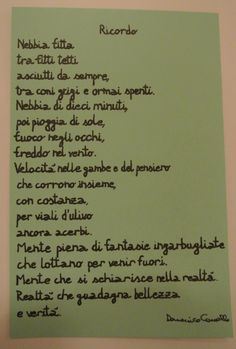 "Poesia ""Ricordo"" su cartoncino verde. Pagina facebook: Cadò  Sito: http://poesiaeoltre.wordpress.com. #poesia, #ricordo, #cartoncino, #colorato, #verde."