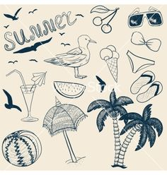 Sketch summer objects vector - by 0mela on VectorStock®