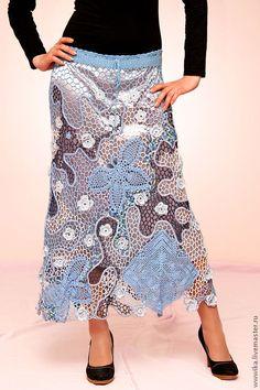 """Купить Юбка """"Бабочки на голубом"""" - юбка, Вязание крючком, вязаная юбка, синий, голубой"""