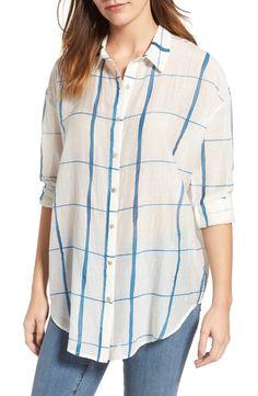 3a52da7d1ac12 New Eileen Fisher Check Organic Cotton Silk Shirt COZUMEL BLUE fashion  online.   238  new offer from Newoffershop