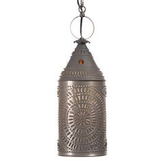 Large Punched Tin Lantern Pendant With Blackened Tin Finish - authentic Colonial Period design reproduction Country Lamps, Country Chandelier, Farmhouse Pendant Lighting, Country Farmhouse Decor, Rustic Lighting, Primitive Country, Antique Lighting, Primitive Decor, Kitchen Lighting