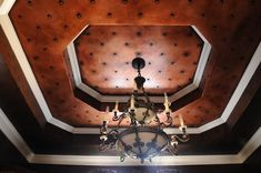 Metallic Dining Room Ceiling | Modern Masters Copper & Antique Copper Metallic Paints | Shading with Blackened Bronze and Embellished with furniture studs | Project by Andrea Blair Murrill