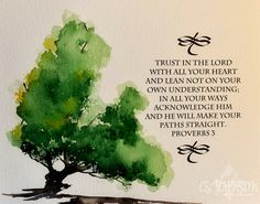 Watercolor painting of Old Oak Tree with Bible verse original fine art calligraphy