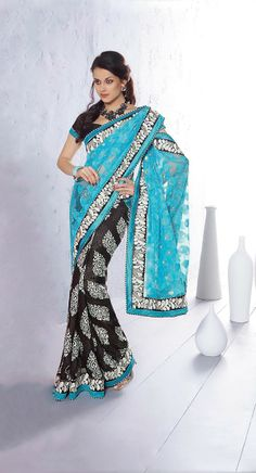 Blue Color Designer Saree.Sensible Colors & Excellent Designs And Romantic Moods Are Reflected With An Alluring Style.