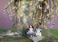 My dollhouse miniature weeping cherry bonsai tree trunk stump fairy house :)