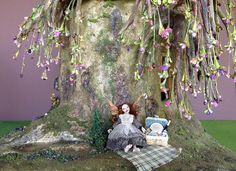 My dollhouse miniature weeping cherry bonsai tree trunk stump fairy house :)