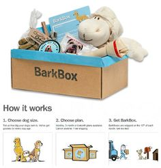 BarkBox is a paid subscription service that delivers a box of modern dog goodies (toys, treats, leashes, etc.) to your door every month based on your dog's size, age, and breed. Which, for a hermit online shopper like me, is pretty much the bees knees. Bonus? 10% of all proceeds go to local rescue groups and shelters!