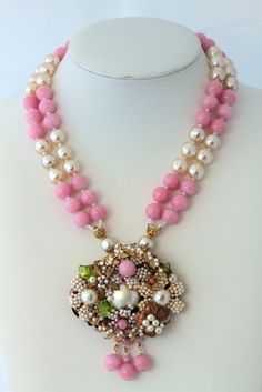 Miriam Haskell Vintage Pink Glass and Baroque Pearl Pendant Necklace