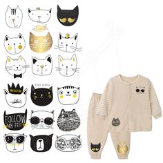 Cheap diy patch, Buy Quality designer patches directly from China patch design Suppliers: 9 designs/combo Cartoon Black graffiti Cute cat face Children Clothing stickers DIY Patches Iron-on Transfers A-level Washable