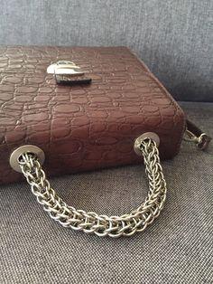 Brown leather bag, Retro handbag, Women satchel tote, high quality genuine leather, chic design, Women leather bag, Steel chain handle, Sac