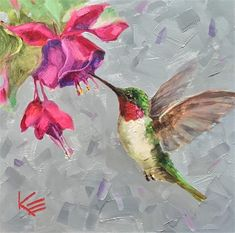 Krista Eaton Gallery of Original Fine Art Hummingbird Drawing, Hummingbird Pictures, Red Hummingbird, Hummingbird Tattoo, Bird Drawings, Fish Art, Art And Illustration, Fine Art Gallery, Yard Art