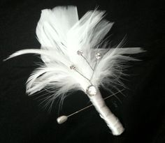 WHITE Feather Crystal Boutonniere (Boutineer) - Silver Black Swarovski Crystal BLING Groom Boutonnieres Feathers - Custom Wedding Colors. $12,00, via Etsy.