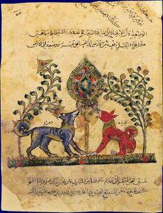 Fables arabes  Les chacals Kalîla et Dimna   Kalila wa Dimna. Traduction par Abd Allah ibn al-Muqaffa'. Egypte ou Syrie, XIIIe siècle   BnF, Manuscrits, Arabe 3465 fol. 48     Le livre de Kalîla wa Dimna, nommé également Fables de Bidpaï, est une compilation de fables indiennes traduites en arabe par Ibn al-Muqaffa' vers 750. Destiné à l'éducation morale des princes, ce recueil a pour héros deux chacals nommés Kalîla et Dimna. La Fontaine s'en est s'inspiré pour ses fables.