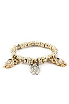 Triplet Crystal Owl Bracelet on Emma Stine Limited
