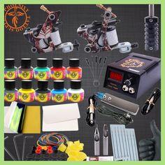 Professional Tattoo Kit Body Tattoo Art 2 Tatto Gun Machine with Grips Needles 10 Color Ink LCD Black Power Units Body Art Sets