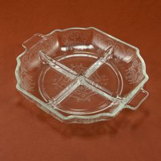 Lorain Depression Glass 4 pt Relish Clear Indiana Vtg by charmings, $11.00