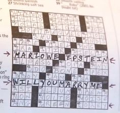 Buy a crossword puzzle from your local newspaper, create the clues, and have her solve. This was really done with the Washington Post!