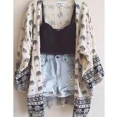 high waisted denim, elephant kimono