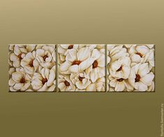 """Купить Объемная фреска """"Сад белых анемонов"""" - белый, фреска, объемная картина, анемоны, планшет"""
