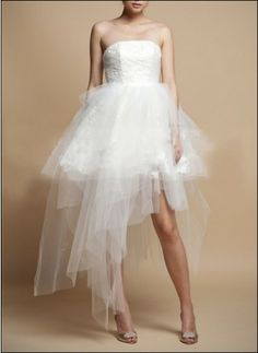 Modern, asymmetrical bridal dress for the civil marriage. Also a fun look for the wedding party after the marriage ceremony!