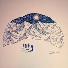 #mountains #wildlife #illustration #art #snowmountain #wintertime #spiritual #moonlight