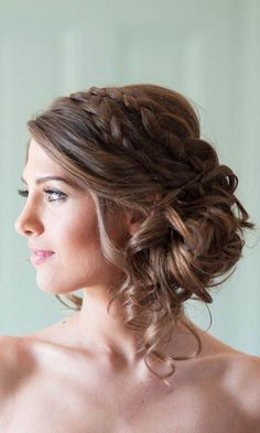 Rustic updo wedding hairstyle - medium long hair, braided, elegant. See more: http://www.weddingforward.com/romantic-bridal-updos-wedding-hairstyles/ #weddinghairstyles #bridalhairstyles