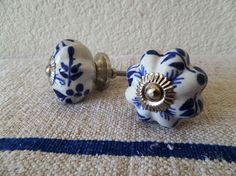 SET of 2 perfect hand  painted ceramic knobs Blue&White $6.5