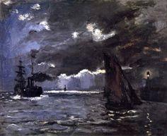 Claude Monet - Marina efecto nocturno (1866)
