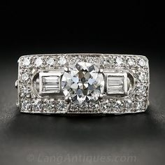 1.05 Carat Art Deco Platinum Diamond Ring