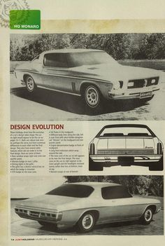 Design concepts and clay models for the HQ. Australian Muscle Cars, Aussie Muscle Cars, Holden Monaro, Holden Australia, Australian Vintage, Car Mods, Car Advertising, Automotive Design, Motor Car