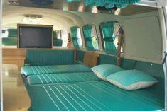 VW bedtime bus aqua green Das Vintage VW Buses and other apparel, accessories and trends. Browse and shop 1 related looks. Kombi Trailer, Vw Caravan, Kombi Camper, Kombi Home, Camper Van, Campers, Volkswagen Interior, Campervan Interior, T3 Vw