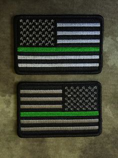 Thin Green Line American Flag Patches