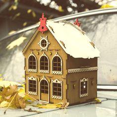 """Купить Короб """"Новогодний домик"""" - коричневый, подарочная упаковка, подарочные коробки, новогодняя коробка"""
