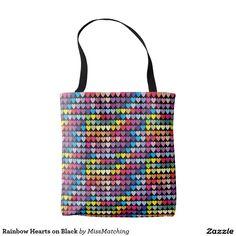 Rainbow Hearts on Black Tote Bag
