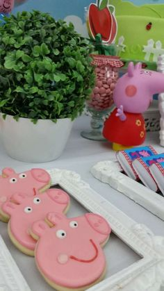 Cute cookies at a Peppa Pig birthday party! See more party planning ideas at CatchMyParty.com!