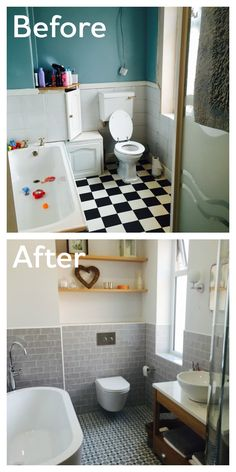 What a wonderful transformation a new luxurious bath tub makes.The Arc freestanding bath looks amazing in contrast to the grey tiles. This before & after photo was sent to us by Chris from Lytham.  #VPShareYourStyle
