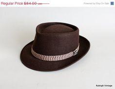 Vintage 1940s Hat : Mens Brown Beaver Fedora