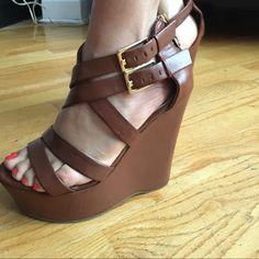 "NEW Guess platform wedge Sandals Guess Sandal Color Brown features Synthetic Leather, With wrapping straps and two adjustable buckles. ""5""Inches wedge and ""1 1/2 ""In platform. Made sole, Made upper, No Box. Guess Shoes Wedges"