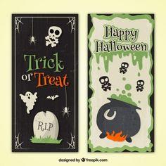 Banners de halloween en diseño vintage