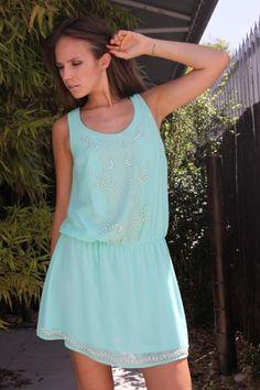 Mint Sleeveless Embellished Chiffon Dress