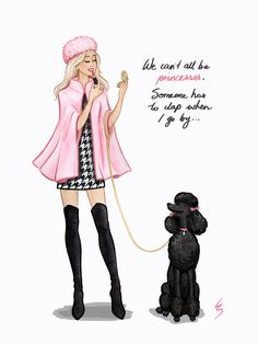 Lydia Snowden Illustration. Fashion Illustration. Pink cape, black over the knee boots, herringbone dress, pink Russian hat.