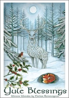 Winter Wonder Yule Christmas Holiday Art Greetings by FaerieCraft Christmas Art, Winter Christmas, Winter Holidays, Vintage Christmas, Xmas, Christmas Landscape, Winter Snow, Wiccan, Pagan Yule