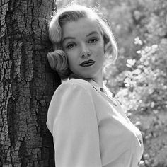 August 1950: A 24-year-old Marilyn, wearing a simple button-down shirt monogrammed with her initials, leans against a tree in Los Angeles' Griffith Park. Ed Clark / Time & Life Pictures/Getty Images