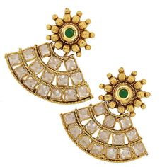 Maayra Smashing Green Gold Crystal Drop Earringshttp://goo.gl/2FEg89