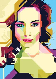 6 beauty or fashion portraits in 2 geometric versions (artistic and polygon)