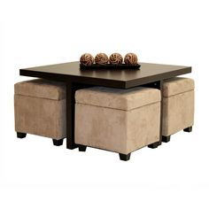 Great for areas like a Loft/Condo or small space where seating is limited. DHP 3515096 Club Table with Four Ottomans